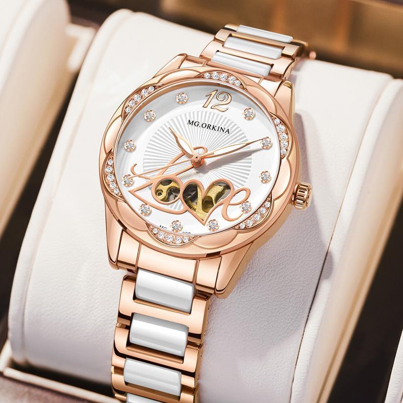 Wristwatches Women Watches Top 2021 Fashion Diamond Lady Stainless Steel Ceramics Female Auto Mechanical Watche