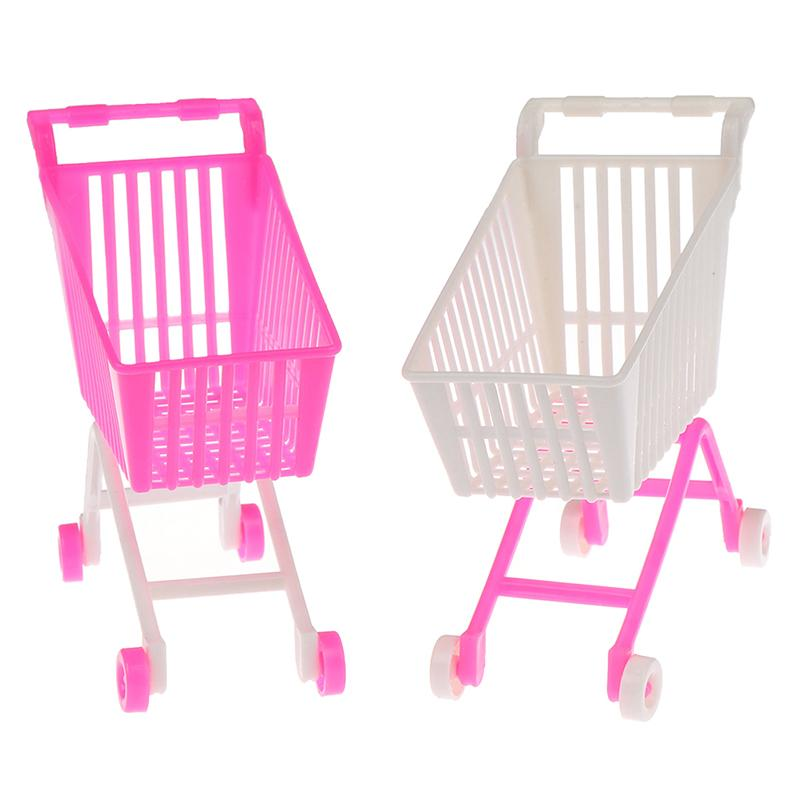 الوردي الأبيض لون عشوائي مصغرة سوبر ماركت handcart التسوق فائدة عربة الوضع تخزين لعبة دمية الملحقات هدايا للأطفال