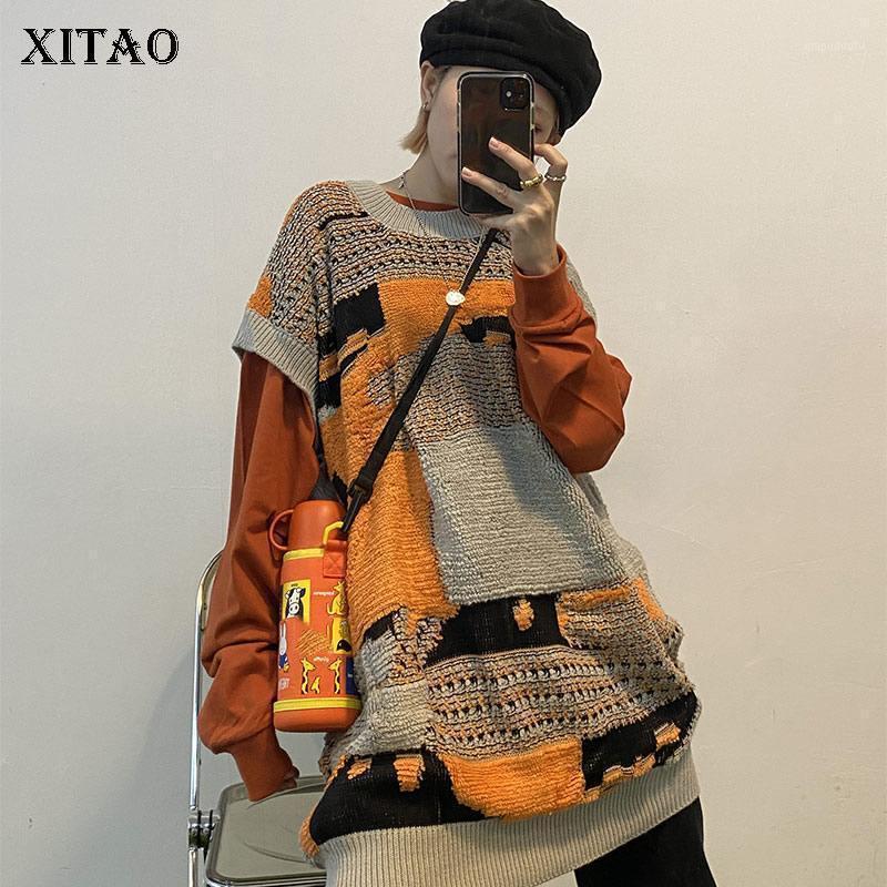 Xitao вязаный свитер Урожай Уровень без рукавов Мода Новые Женщины 2020 Осень Элегантное Меньшинство Свободный Повседневный свитер ZP24661