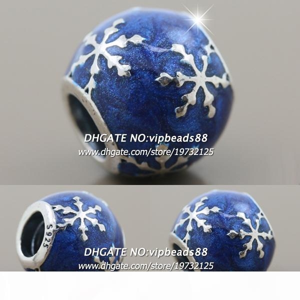 New 2017 Winter S925 Sterling Silver Blue Enamel Winter Snowflake Joy Charm beads For Pandora charm Bracelets Beads & Jewelry Making