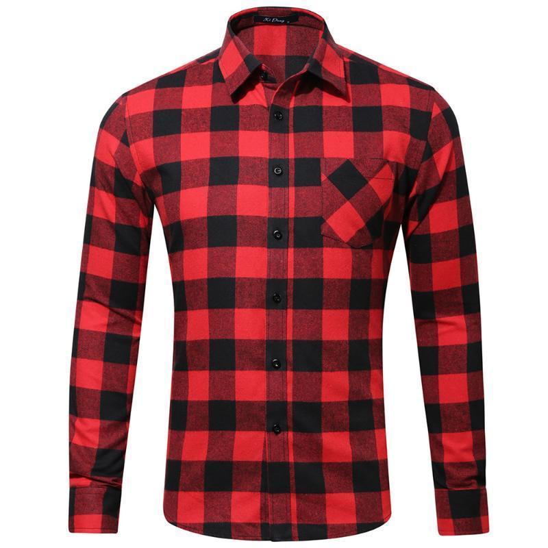 남성용 격자 무늬 셔츠 100 % 코튼 브러시 플란넬 남성 Camisa 단일 패치 포켓 긴 소매 캐주얼 버튼 다운 체크 무늬 셔츠