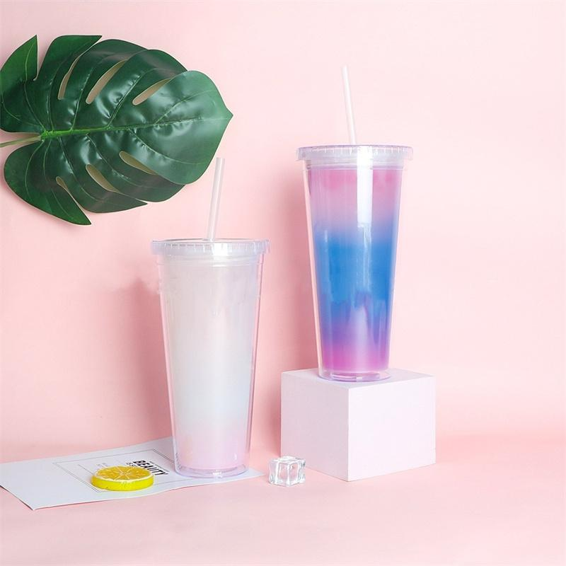 Tumbler Regenbogen Farbe wechseln 710 ml Tassen Kaffeetassen BPA Freier Kunststoff Diamantdeckel Wasserflasche mit Stroh Doppel Wand Trinkbecher Großhandel A02