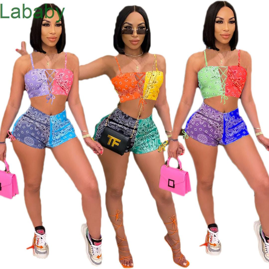 Summer Women Sexy Short Set Outfits Two Pieces Set designer Tracksuits Jogger Suits Sexy Suspenders Tops Suit Plus Size Clothing