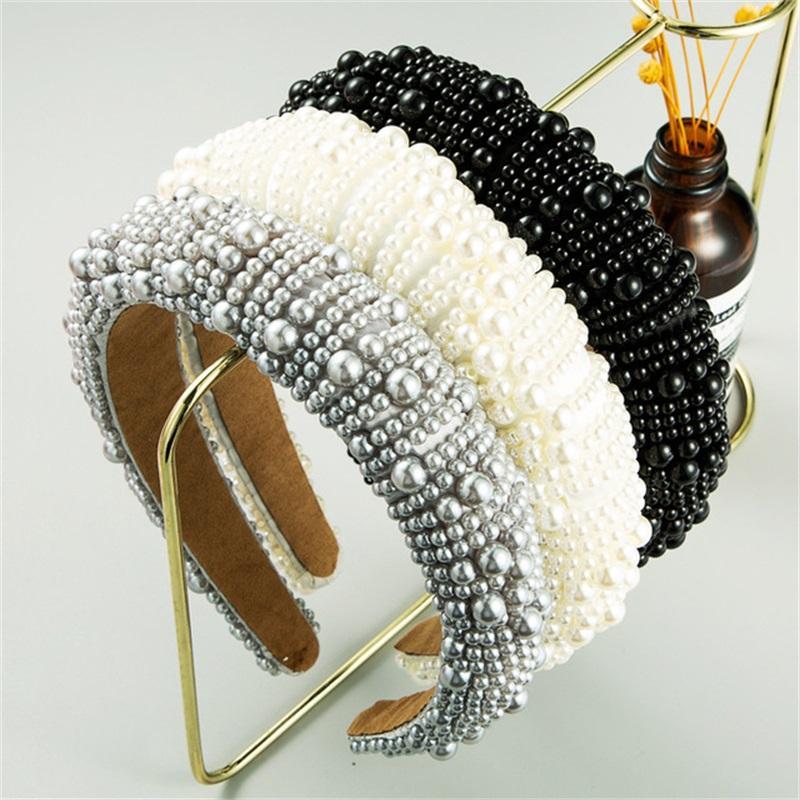 جديد وصول جميلة الإسفنج عقال custely مغطاة لون نقي تصميم اللؤلؤ الاصطناعي الفاخرة النساء الشعر الفرقة 853 Q2