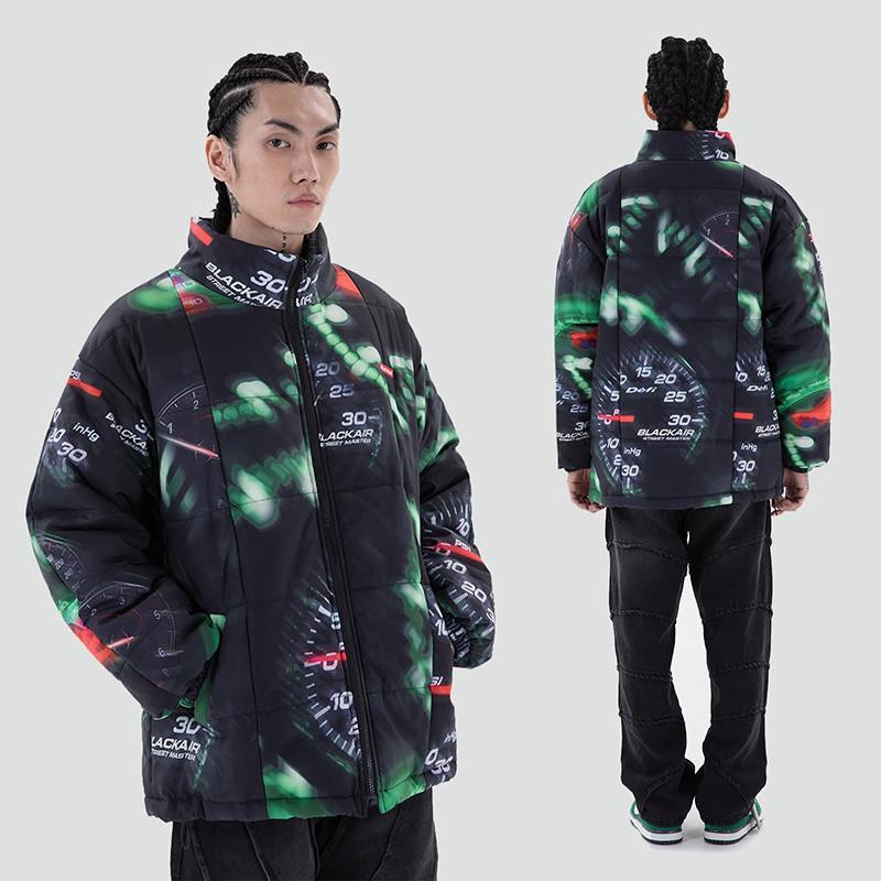 Печатная печать масштабирует хлопковое пальто Мужчины и женские стритвальщики стенд Толстая мягкая куртка Свободные повседневные Parkas