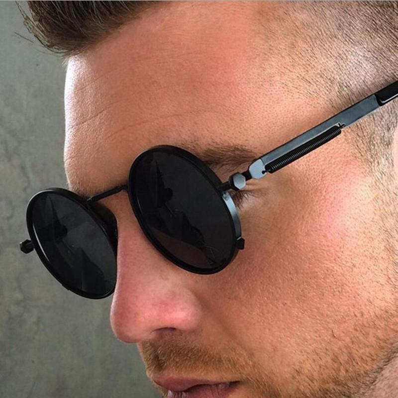 Lunettes de soleil Classic Hommes 2021 Trend Punk Round Sunglass masculin vintage rétro miroir lunettes de soleil pour hommes nuances uv400