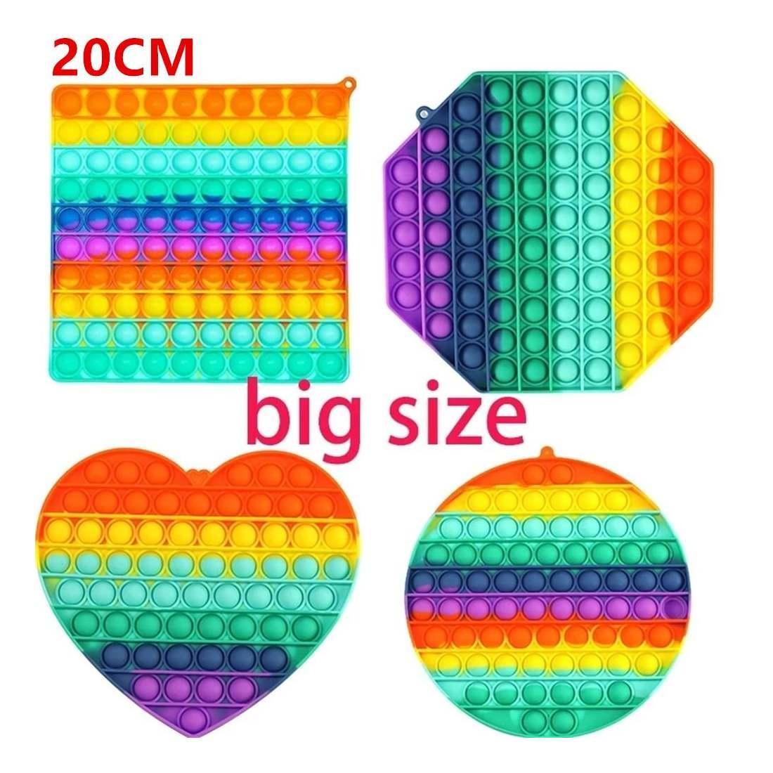 Тикток Большой Размер Красочный Push Pops Fivet Bubble Sensosy Squishy Revere reviever Аутизм нуждается в борьбе с напряжением поп-it Rainbow Toys DHL DHL