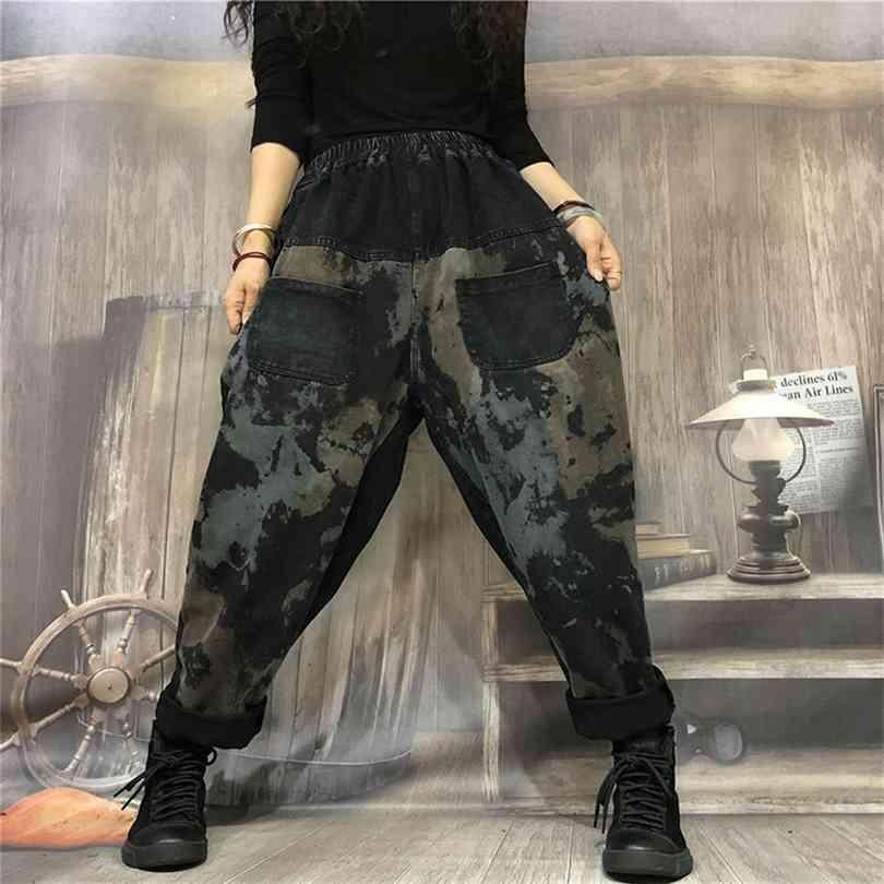Outono Artes Estilo Mulheres Cintura Elástica Solta Calças de Jeans Splice Vintage Impressão de Algodão Denim Harem Calças Feminina S264 210924