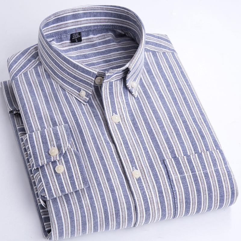 좋은 봄 가을 고품질 남자 옥스포드 클래식 스트라이프 셔츠 긴 소매 드레스 남성 비즈니스 캐주얼 정식 의류 남성 셔츠