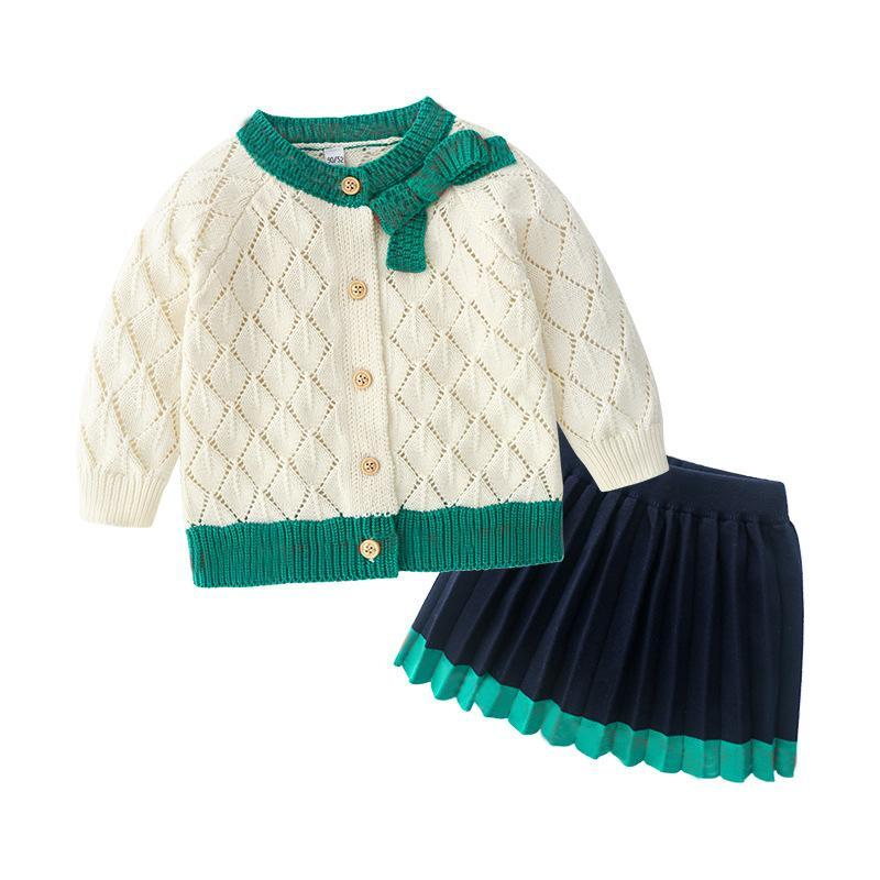 Clothing Sets Fashion Kids Girl Clothes Knitted Cotton Long Sleeve Sweater Cardigan Jackets And Folded Skirts Toddler Baby
