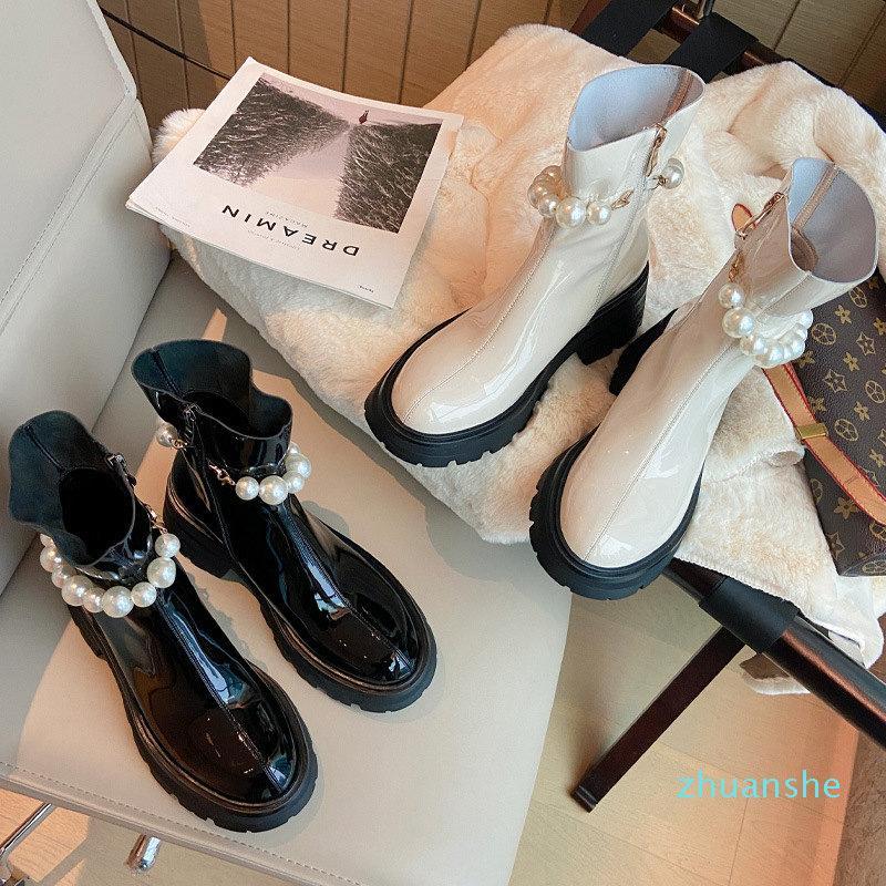 Fashion-Pearl morbido vernice in vernice bianco nero 6cm spessi stivali stivali da donna ad altezza da donna dolce stivaletti di caviglia con tacco rotondo boot boot