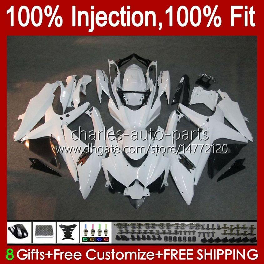 Spritzgussform für Suzuki GSXR600 K8 GSX-R750 GSXR-600 GSXR-750 GSXR750 BODYWORK 9HC.10 Glossy White GSX-R600 2008 2009 2010 GSXR 600 750 CC 600cc 750cc 08 09 10 Verkleidung