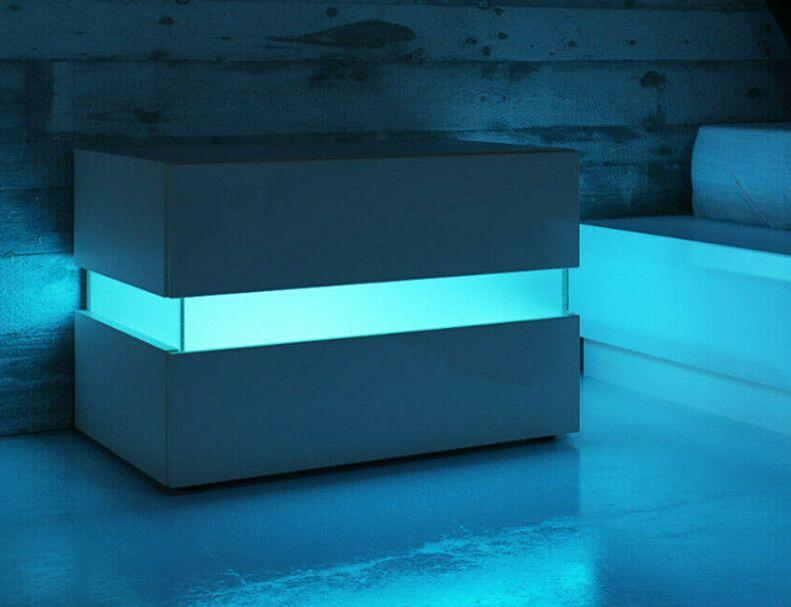 Mobilier de luxe moderne LED Compeut lumineux W / 2 tiroirs Organisateur Armoire de rangement Table de chevet