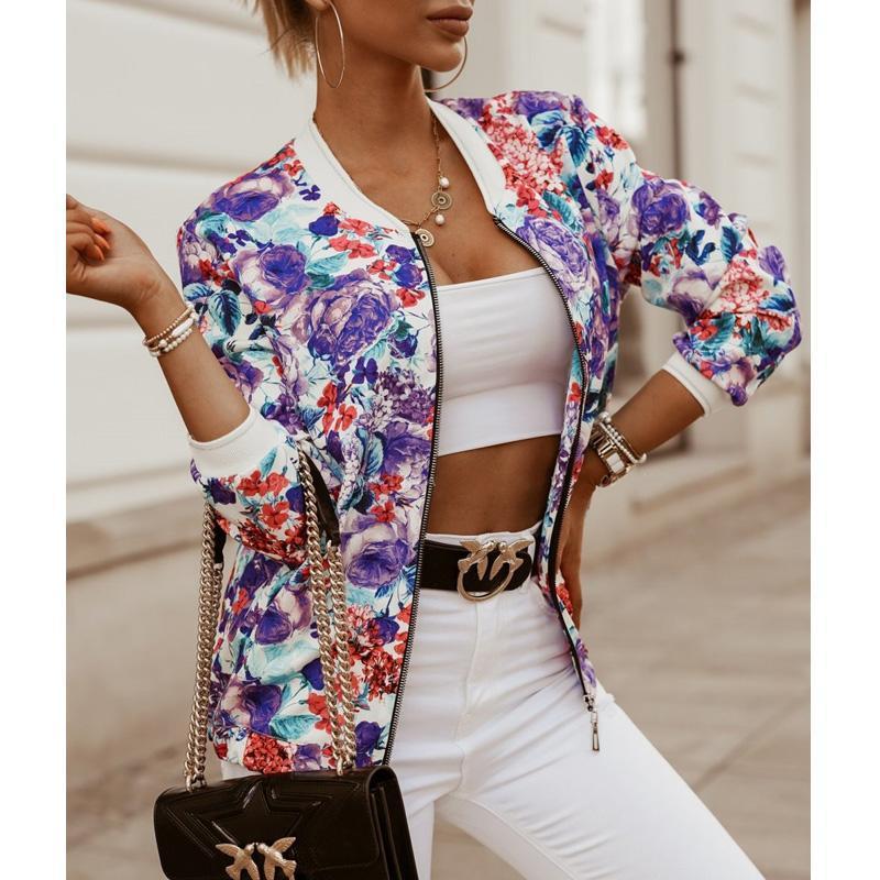 Women's Wool & Blends Flower Printed Bomber Jacket Women Zipper Long Sleeve Coat Female Woman Autumn 2021