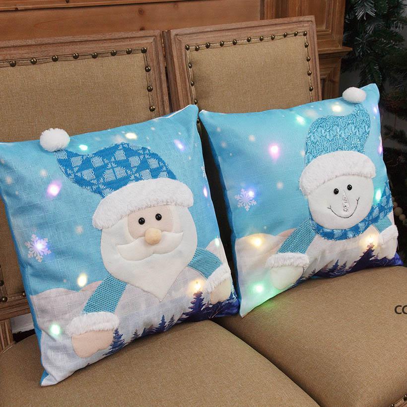 Noel Süslemeleri LED Parlayan Noel Baba Kardan Adam Yastık Kılıfı Light Up Yastık Kılıfı Kapak Ev Dekor için Kanepe Araba DHE8693