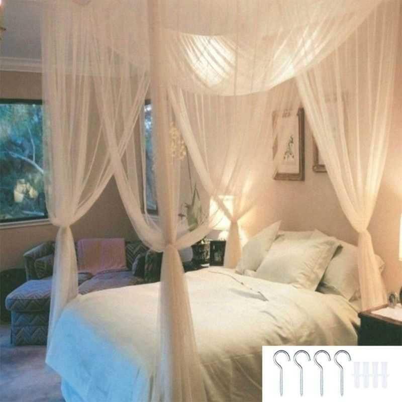 4-Corner Post Student Balzone Bed Bed Tende Accessori Zanzariera Regina Regina King Size 190 210 x 240 cm