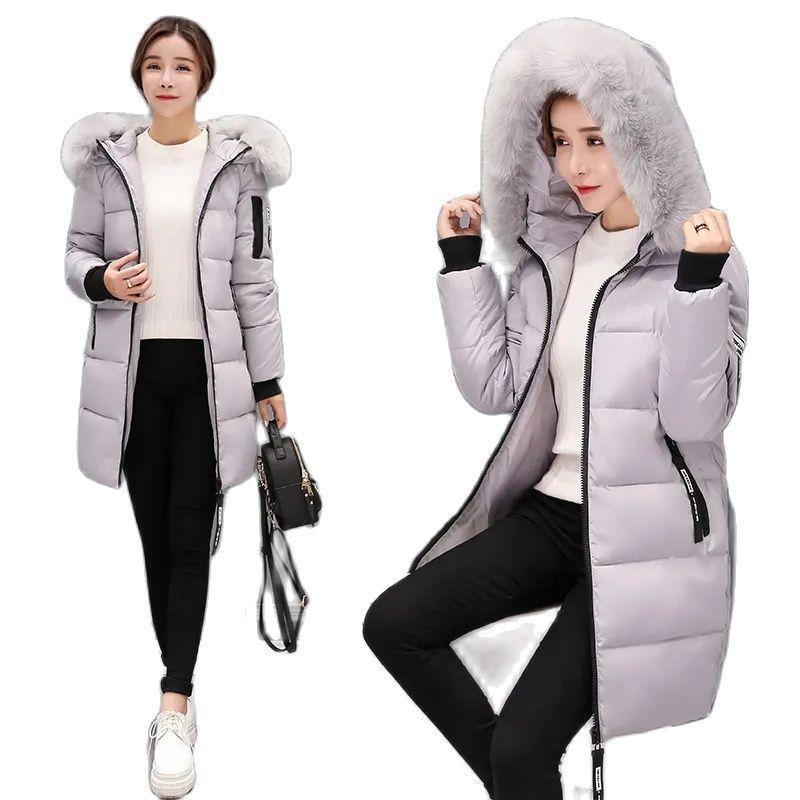 Kadın Aşağı Parkas Palto Parka Pamuk Kadın Ceket Orta-Uzun Baskı Büyük Kürk Yaka Giysi Kış Stil Ince Bayanlar Ceket