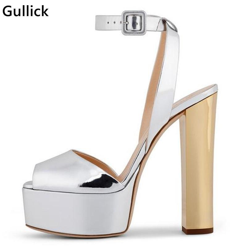 Gullick 판매 패션 플랫폼 샌들 발목 스트랩 블링 반짝이 여자 파티 드레스 신발 혼합 색상 슈퍼 하이힐