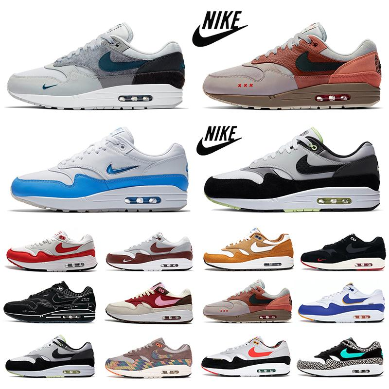 Nike Air max 1 mens running shoes Kiss of Death K.O.D. CHA Remix Pack london 1s elephant amsterdam Magma Schematic University Blue men women trainers sports sneakers