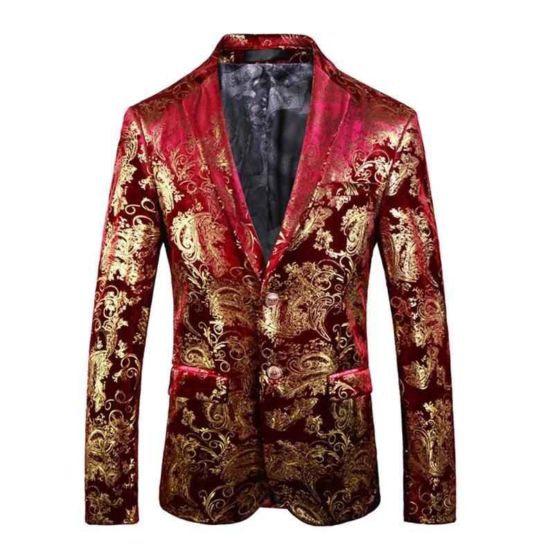Tyrant Gold locale Slim Gilded Tuta a maniche lunghe Giacca da uomo Blazer Blazer Abito Abbigliamento Abbigliamento Due bottoni Cappotto Cappotto Abiti Blazer