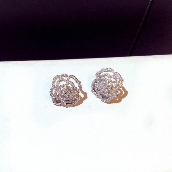 Orecchini di cristallo orecchini rotabile cerchio fiore argento sterling carino gioielli unici per le donne moda calda