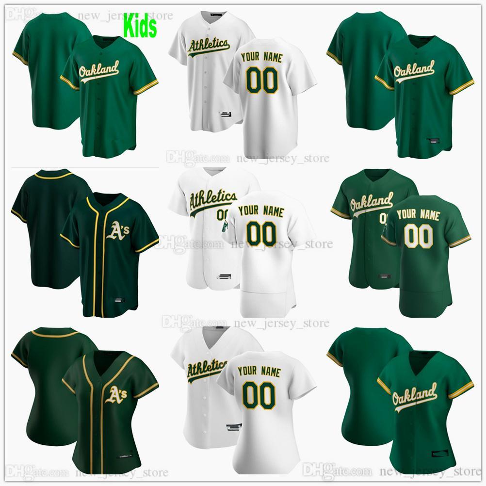 Personalizado 2021 Hombres de béisbol Mujeres Niños Jóvenes # 6 Matt Chapman Jersey 10 Marcus Semien 2 Khris Davis 22 Ramon Laureano Steinsed Jerseys