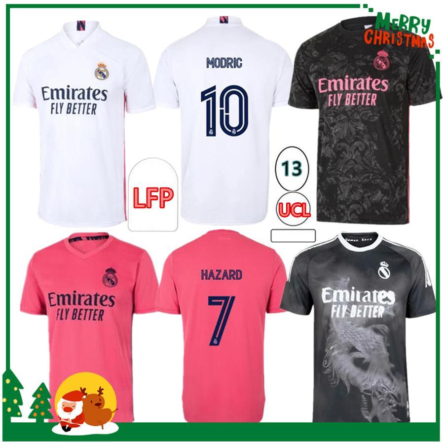20 21 Реал Мадрид Футбол Футбол Опасность Sergio Ramos Benzema Asensio CamiSeta Men + Kids Kit 2020 2021 Четвертый 4-й Человеческая Футбольная футболка