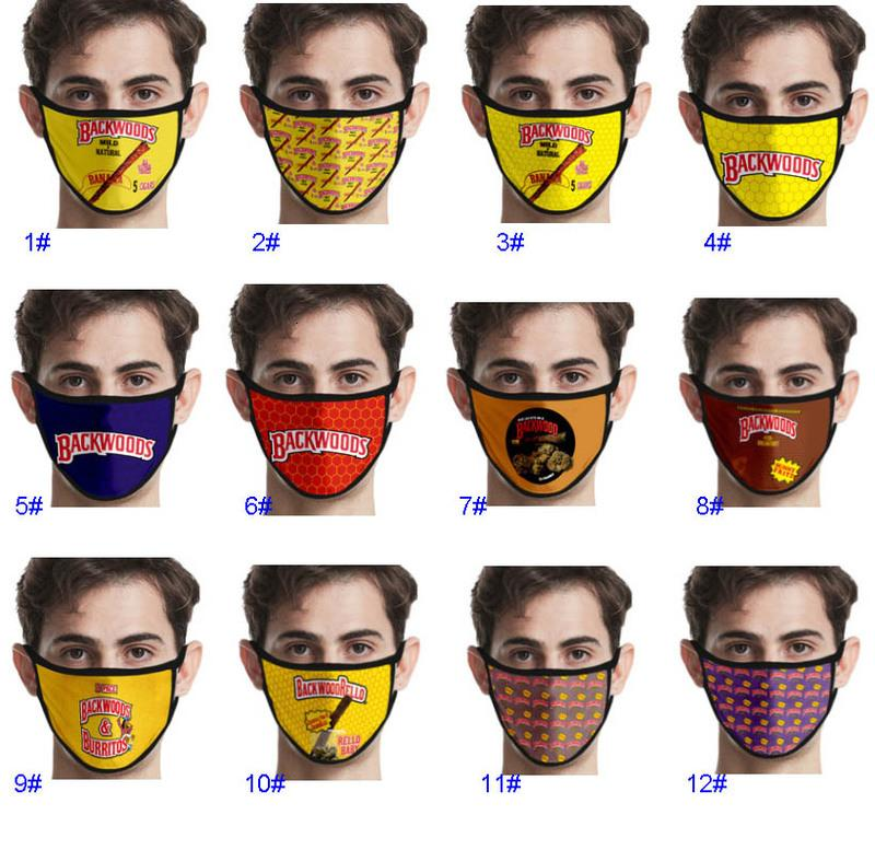 Maschera di stampa digitale 3D Backwoods Sigaro in cotone lavabile in cotone all'aperto maschere antipolvere per le donne uomini GWA4799
