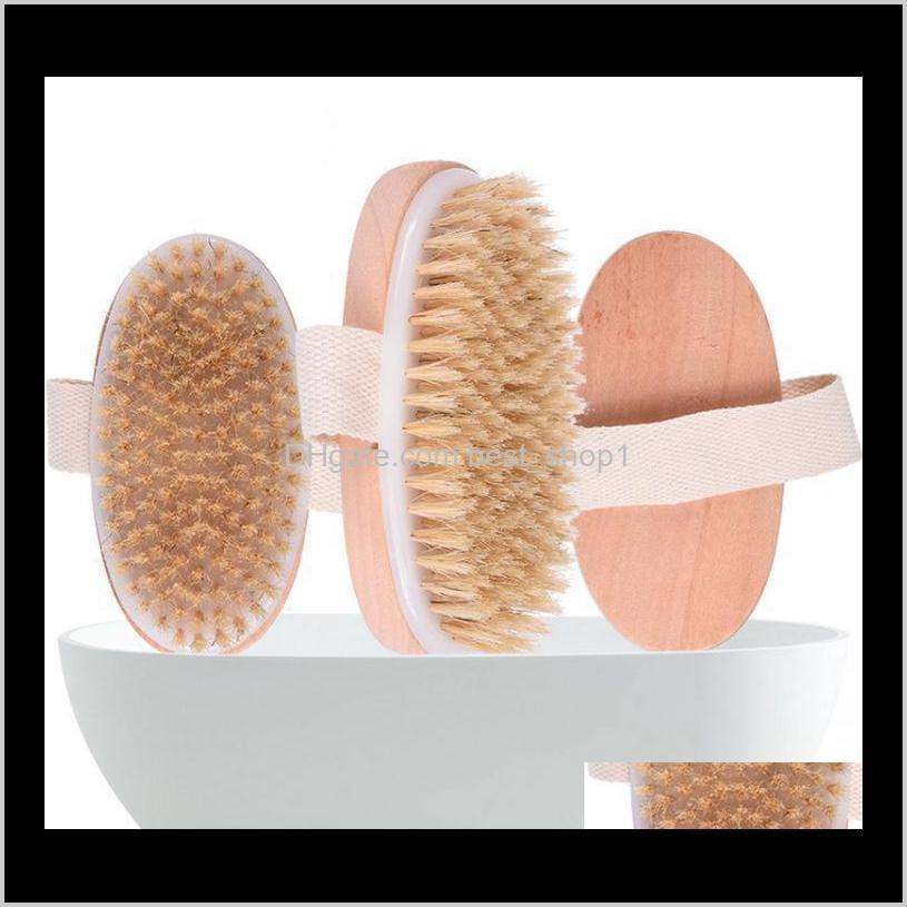 Pinceles Sponges Scrubbers Secar piel suave natural La ducha de madera con ducha Cepillo de cerdas Spa Cepillos de cuerpo sin mango EEE1336 DDPSG J6O5P
