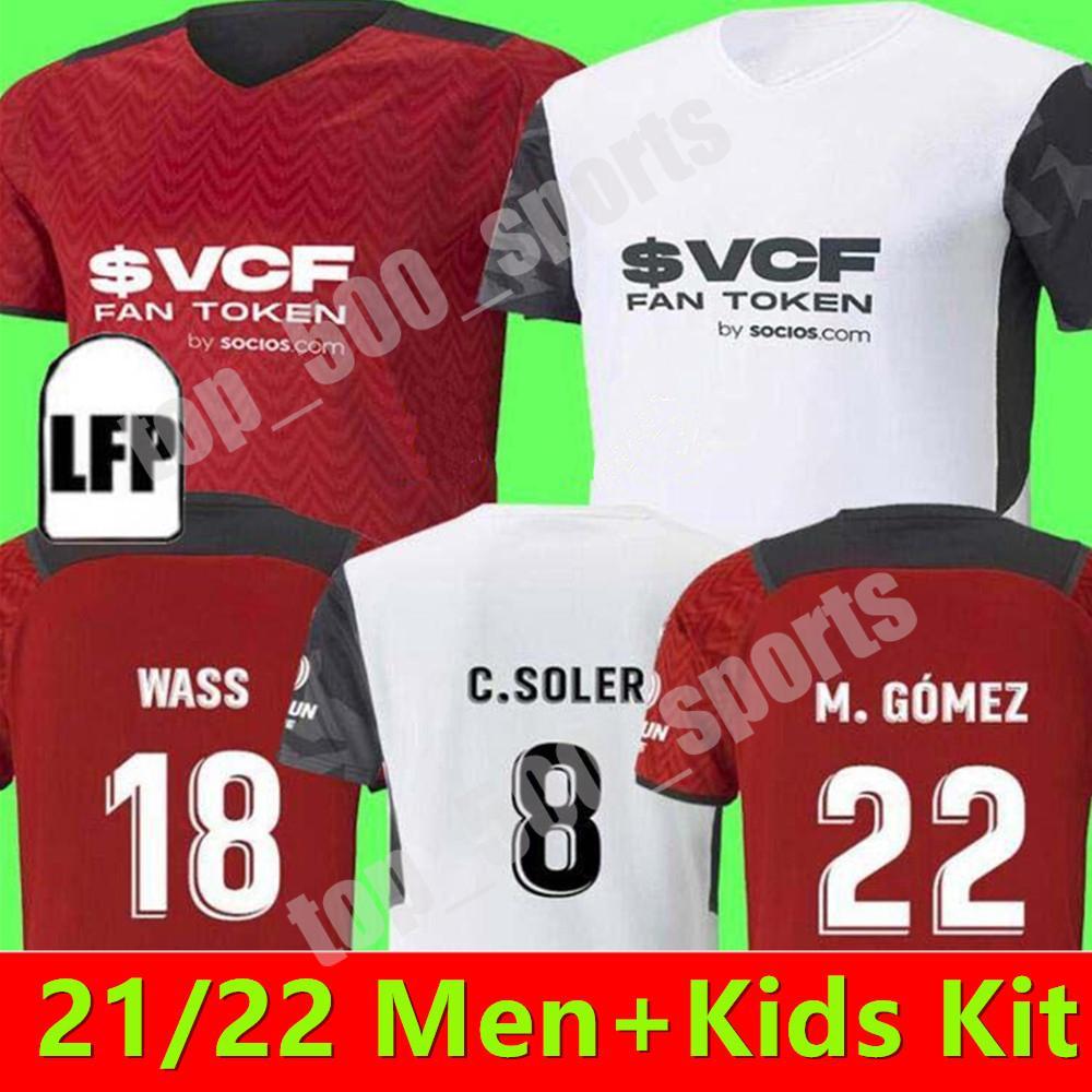 남성 + 키트 키트 22 22 발렌시아 축구 유니폼 2021 홈 멀리 Guedes Gameiro Florenzi Red Redrigo M.Gomez Jersey Football Shirts