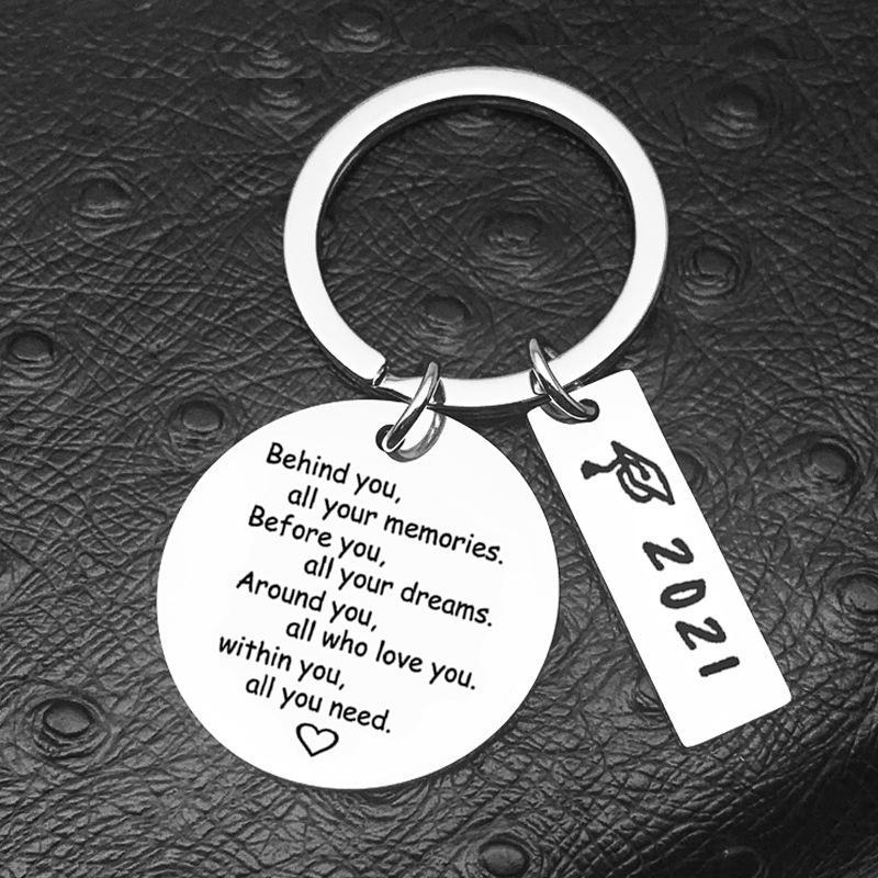 2021 Abschluss Keychain Anhänger Klassenkameraden Gedenkstätte Edelstahl Schlüsselanhänger Gepäckdekoration Schlüsselanhänger Designer Geschenk GWA6128