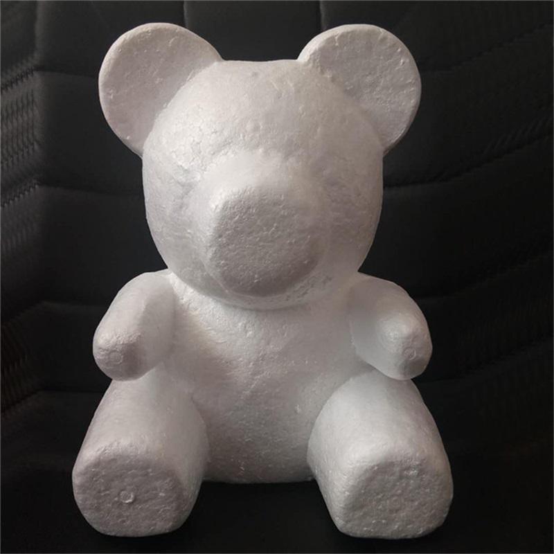 20 cm poliestireno espuma de poliestireno oso de espuma de espuma de rosa Oso de peluche blanco corazón día de la madre Decoración de la boda del partido 530 V2
