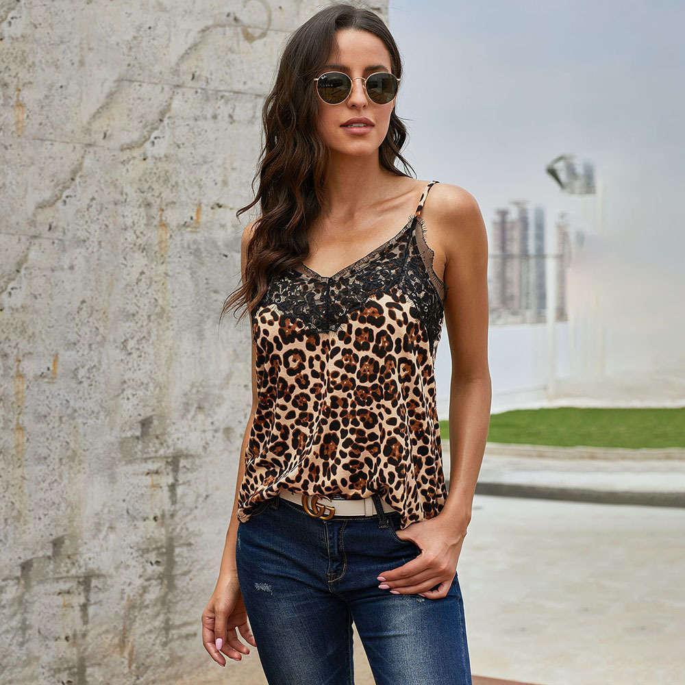 tank Cowgirl Rodeo westwear Leopard Sling Vest Womens Summer Ride Waichuan Lace-up Neckline Sleeveless Sexy Low-Cut Top Long Dress