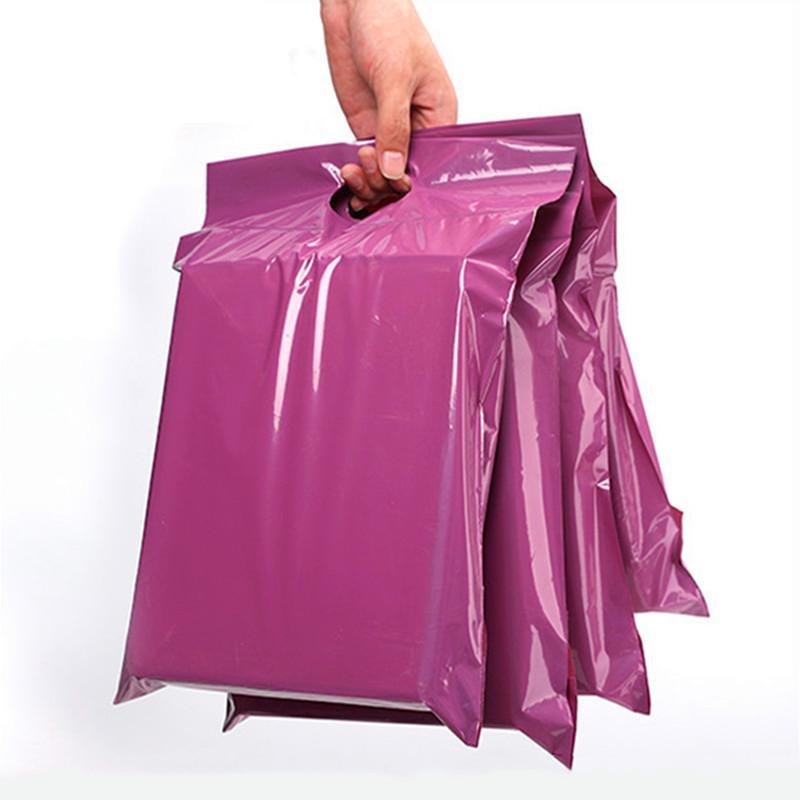 100 teile / los lila tote express packing taschen kurierbeutel selbstversiegeln klebstoff dick polyhülle kunststoff für t-shirt geschenke mailing taschen