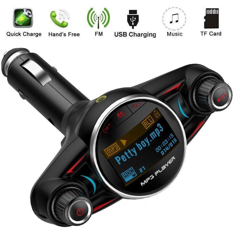 Wireless Bluetooth Large Screen Handsfree Call Car FM Transmitter TF Card Digital Mp3 Player Radio Adapter Fast Charger Kit With USB Port