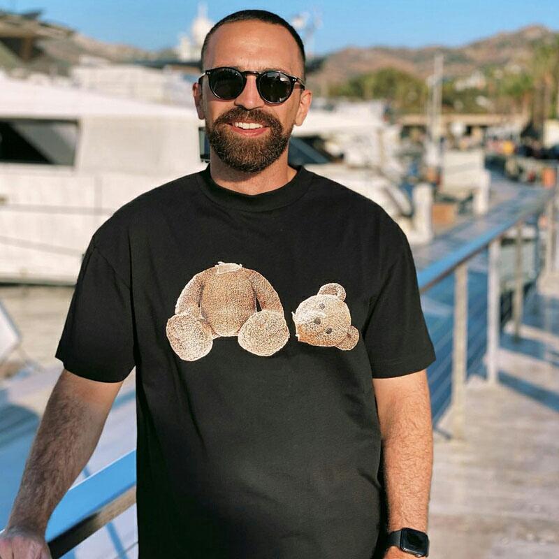 Moda 21ss verão pa homens e mulheres camisetas mans palms estilista tee urso guilhotina impresso manga curta truncado ursos t-shirt