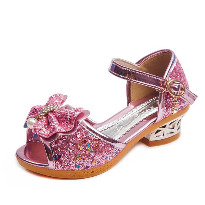 الفتيات الصنادل الصيف 2021 الأميرة الأطفال أحذية القليل الكعب العالي القوس كريستال حزب اللباس الزفاف