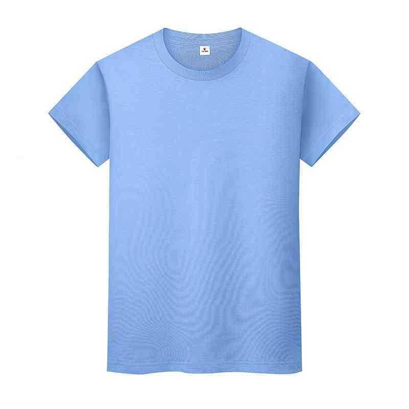 ND Boyun Katı Renk T Gömlek Yaz Pamuk dibe Kısa Kollu Erkek ve Bayan Yarım-Sleevedq5AFK58P