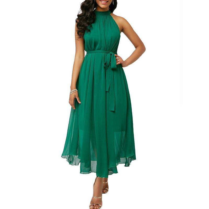 Talla grande 5XL Mujeres Green Vestido Green Vestido sexy Off Hombro Halter Vestido de verano 2021 Autumn Lady Sin mangas Fashes Long Maxi Vestido X0521