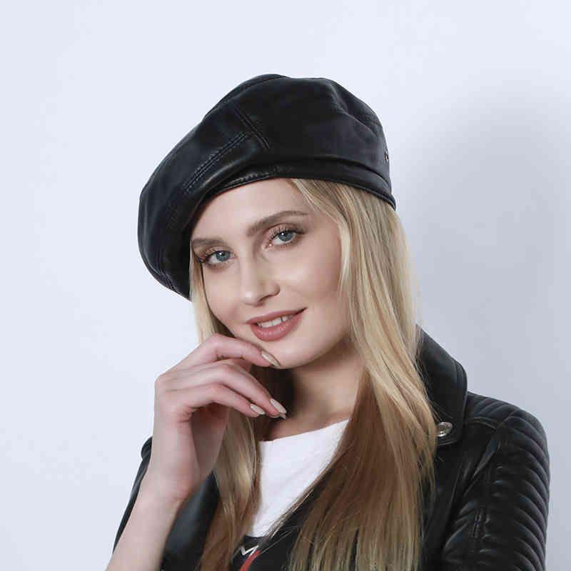2021 Yeni Gerçek Deri Fransız Sanatçı Bere Moda Şapkalar Kadınlar Kızlar Için Sonbahar Kış Yumuşak Bere
