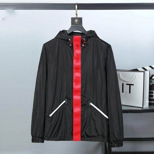 20ss erkek Uzun Kollu Ceket Yüksek Kalite Moda Tasarımcısı İlkbahar ve Sonbahar Lüks Giysileri için Kapüşonlu Rüzgarlık Giyim
