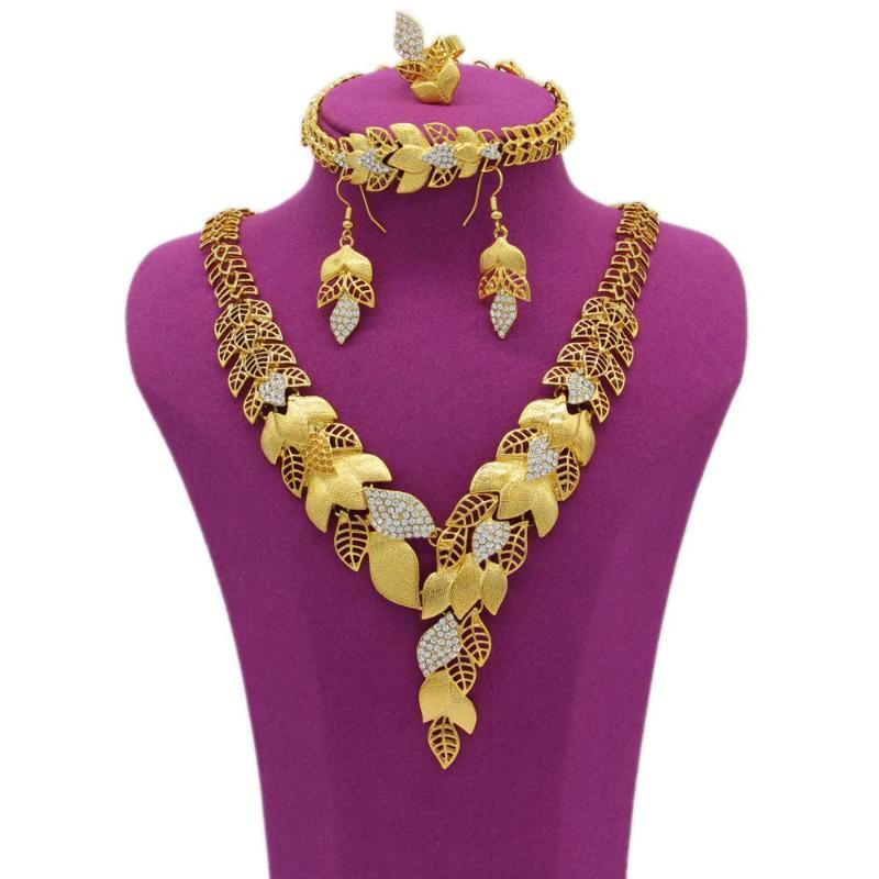 Earrings & Necklace PINXUN Nigeria Dubai Wedding Jewelry Gold Color African Fashion Ring Bracelet Sets For Women Party Gifts YS5