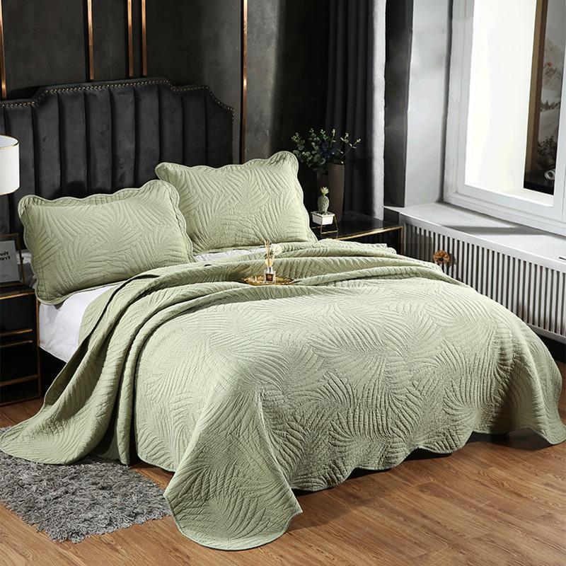 Bettdecken Setzt solide Farbbettendecken Quilt Set 3 STÜCKE Baumwollquilts für Bett bestickte Abdeckung Kissenbezug King Queen Twin Sommer Coveret