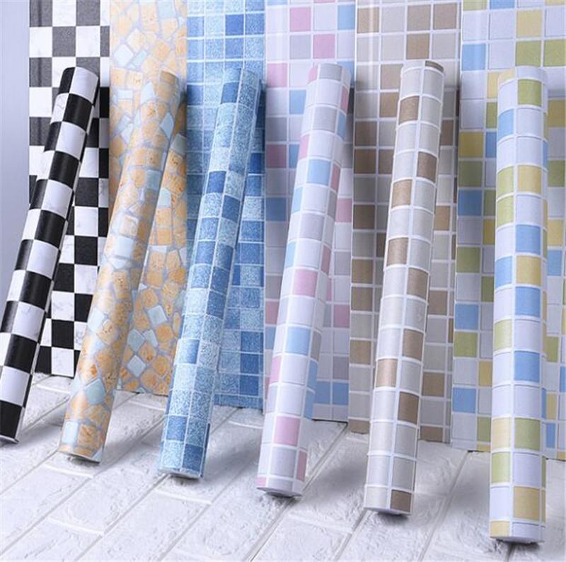 10m Bathroom Tiles Waterproof Wall Sticker Vinyl PVC Mosaic Self Adhesive Anti Oil Stickers DIY Wallpapers Home Decoration