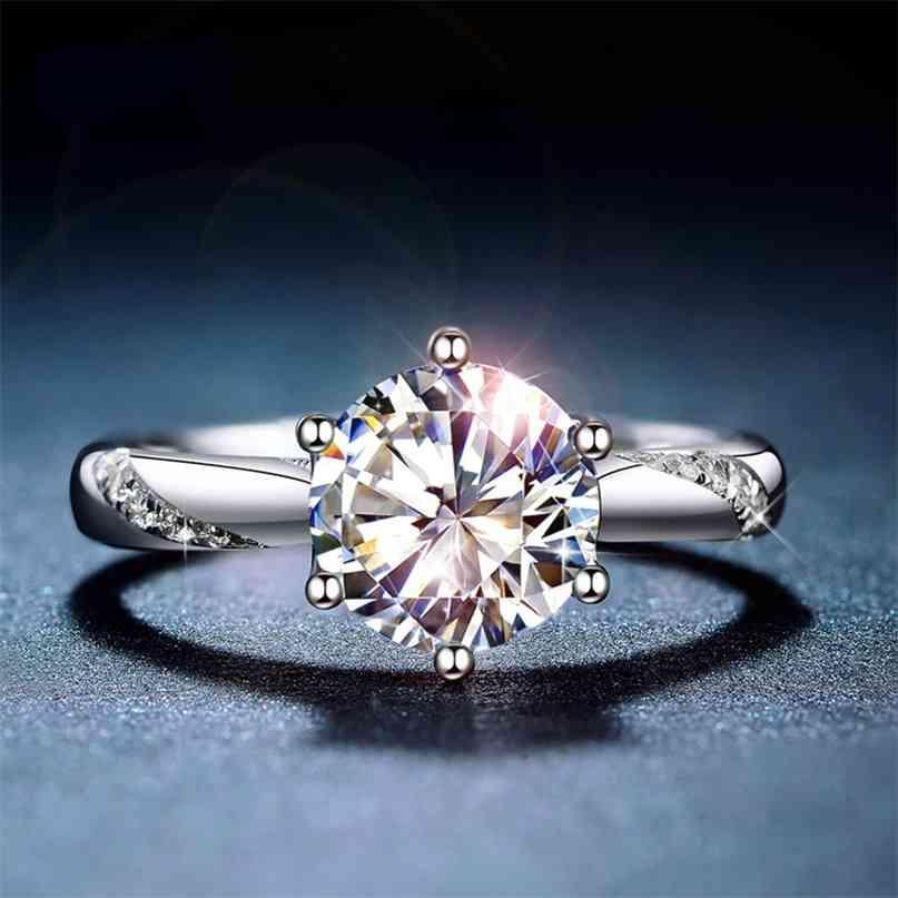 Clássico 925 Sterling Silver Ring 1ct ij Color Laboratório Diamante Jóias Estilo Simples Aniversário 210610