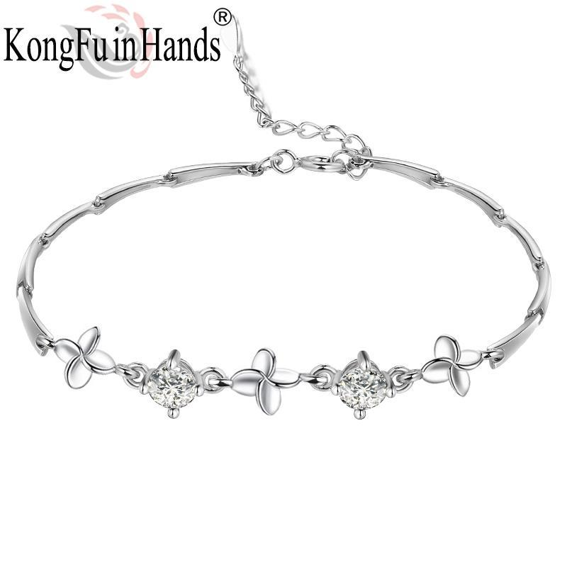 Shining Zircon 925 Sterling Sliver Lucky Clover Bracelet For Women Daily Wear Arrivals Show Female Charms Romantic Gift Link, Chain