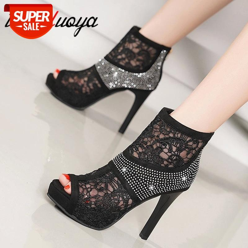 rhinestone High Heel Sandals Summer Zipper Boots Black Mesh Sexy Peep Toe Women Shoes 11.5CM Thin #kD6t