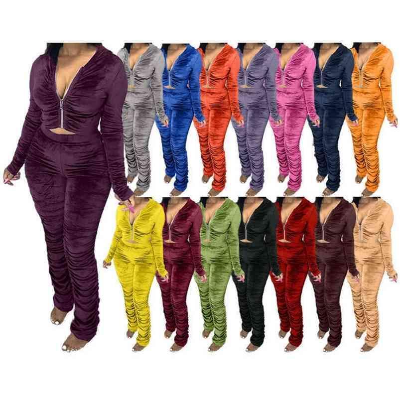 S-3XL Pantaloni casual con cappuccio in velluto da donna S-3XL Set 15 Colori solidi Giacca pieghettata Coltivazione Cappotto Cappotto e leggings Two Piece Outfit Manica lunga Tracksuit G80YR2P