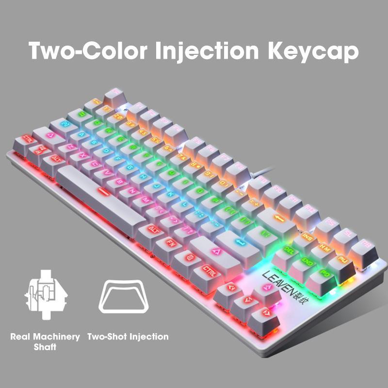 Klavyeler Mekanik Klavye Gaming 87 Tuşları USB Kablolu Anti-Ghosting LED Anahtarı Arkadan Aydınlatmalı Dizüstü Dizüstü PC Bilgisayar için
