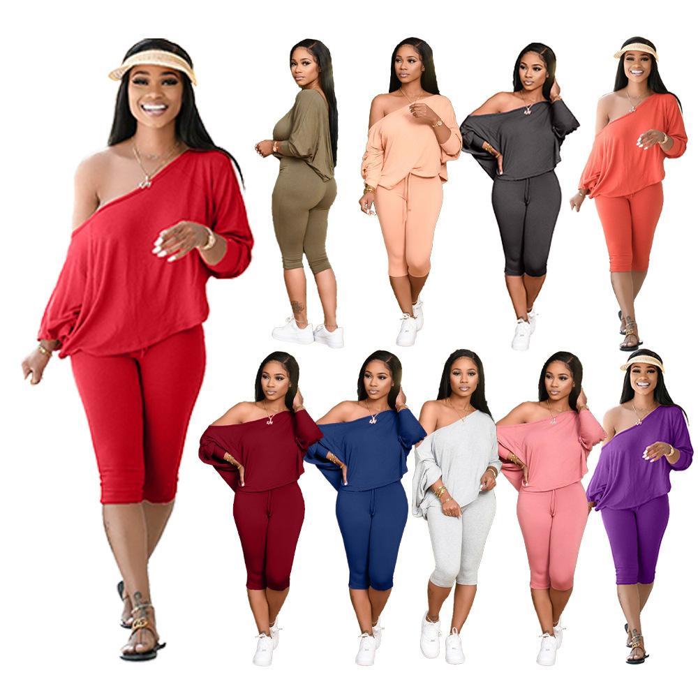 Womens Trainingsanzüge Frühling und Sommer Slant Shoulder Lose Two Piece Mode Casual Anzug Plus Größe Designer Kleidung S-4XL